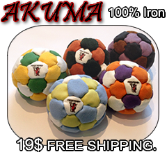 New, AKUMA Pro Series Footbag, 100% Raw iron filling